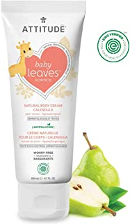 ATTITUDE Baby Leaves, Hypoallergenic Calendula Body Cream, Pear Nectar, 6.7 Fluid Ounce