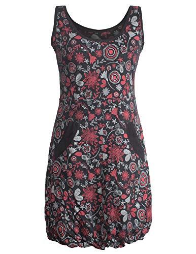 Vishes - Alternative Bekleidung - Ärmelloses mit Blumen Bedrucktes Ballonkleid mit Taschen schwarz 40