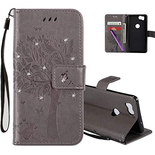 COTDINFOR Google Pixel 2 Protection Case for Girls Flip PU Premium Leather Elegant Retro Slim Shockproof Cover With Card Holder For Google Pixel 2 Gray Wishing Tree with Diamond KT.