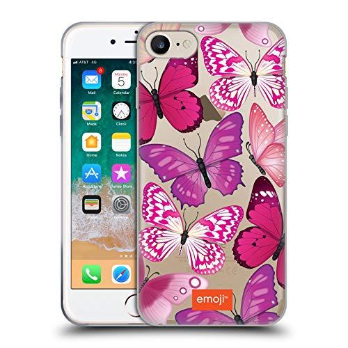 Head Case Designs Oficial Emoji® Rosa y Morado Mariposas Carcasa de Gel de Silicona Compatible con Apple iPhone 7 / iPhone 8 / iPhone SE 2020