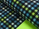 Javi Softshell Karo blau schwarz grün kariert Outdoorstoff