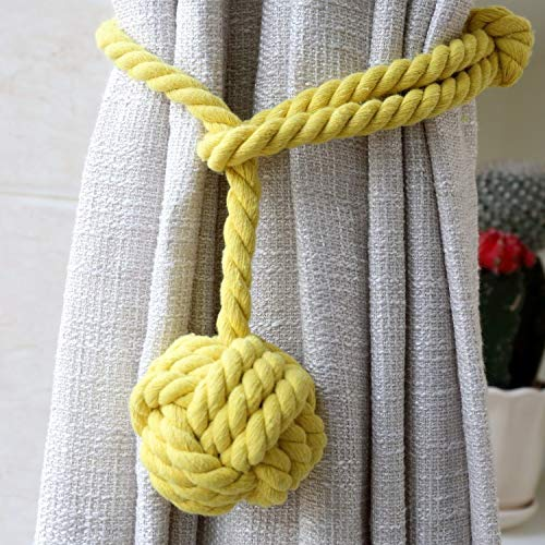 Do4U Ein Paar Hand Stricken Vorhang Seil Clips Halter Holdbacks Vorhang Raffhalter Vorhang Krawatte zurück Krawatte zurück für Vorhang mit Einzelkugel (Gelb)
