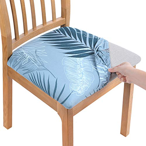 smiry Printed Dining Chair Seat Covers - Stretchy Removable Washable Upholstered Chair Seat Slipcover Protector (Set of 4, Blue)