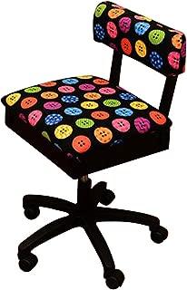 Arrow Hydraulic Sewing Chair with Riley Black Button Motif Fabric