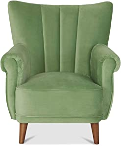 Homy Ohrensessel Grün Textil Velours Holz Holzfüße Walnussfarben Sessel Polstersessel - Lambar