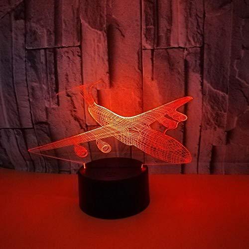 WULDOP Lámpara 3D Luz De Noche Avión avión de pasajeros modelo Lámpara Nocturna Luz De Noche Luz Quitamiedos Infantil Led Para Habitación Infantil Dormitorio Baño Cuna Pasillo