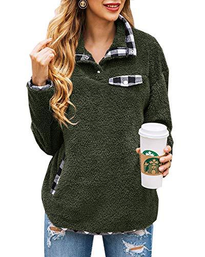 Yanekop Womens Fuzzy Fleece Pullover Plaid Print Sherpa Sweatshirt Button Collar Tops with Pockets(Army Green,L)