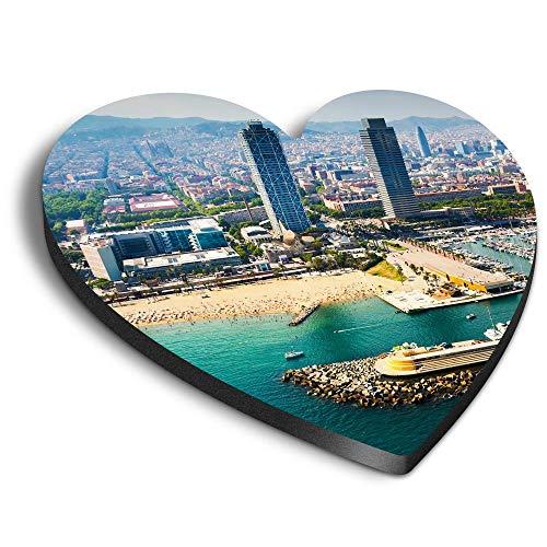 Destination Vinyl ltd Corazones MDF Imanes - Barcelona España Puerto Barcos para...