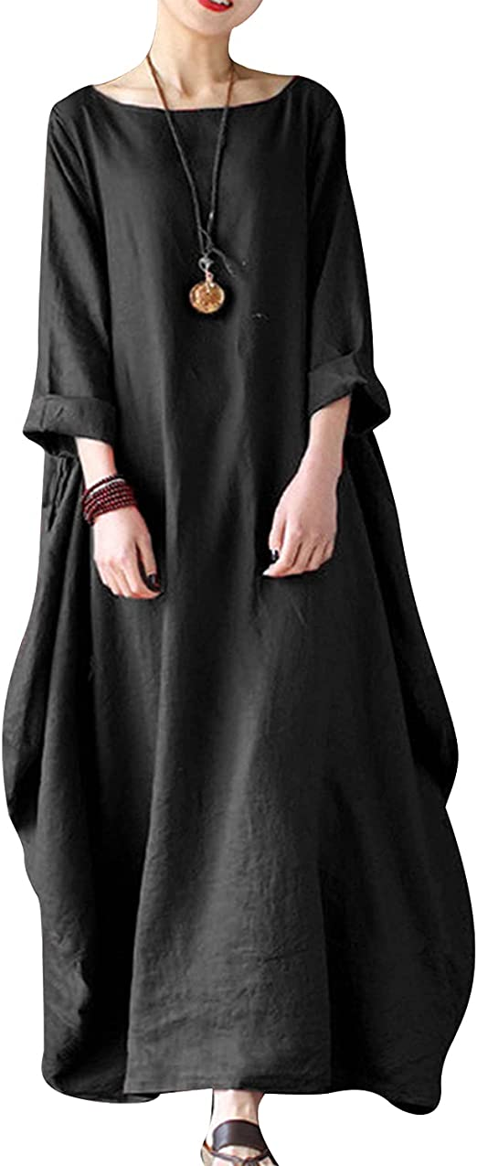 Vonda Lange Kleider Damen Kleid Langarm Kaftan Boho Maxikleider Grosse Grossen Mittelalter Maxikleid Amazon De Bekleidung