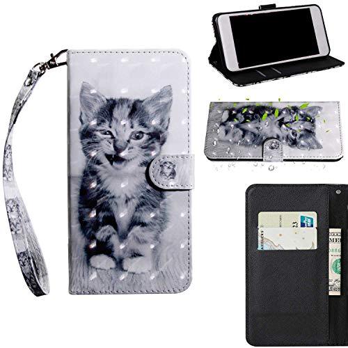 THRION Apple iPhone 6 Plus/iPhone 6S Plus Hülle, PU 3D Brieftaschenetui mit magnetischer Handschlaufe und Ständerhalterung für Apple iPhone 6 Plus/iPhone 6S Plus, Katze
