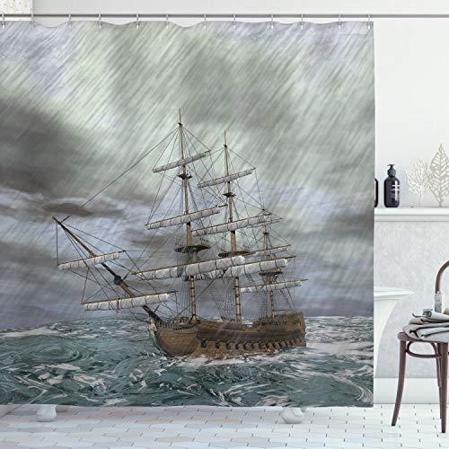 ABAKUHAUS Alt Duschvorhang, Ozean im Wellen-Regensturm, mit 12 Ringe Set Wasserdicht Stielvoll Modern Farbfest & Schimmel Resistent, 175x180 cm, Blaugrau Umbrabraun Grau