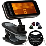 Peterson StroboCLIP HD Clip-On Strobe Tuner for Guitars, Bass, String Instruments Bundle with Blucoil 10-FT Straight Instrument Cable (1/4in), and 4-Pack of Celluloid Guitar Picks