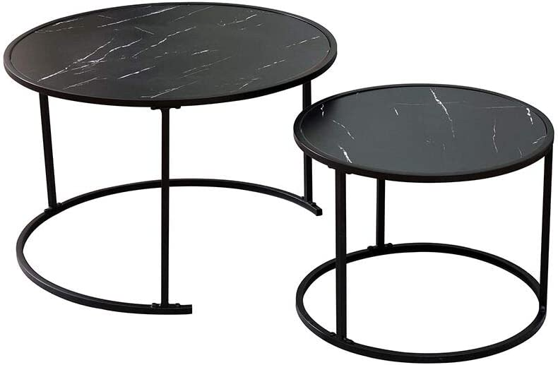 Black Marbling/—Style 2 Kingwudo/® Marbling series Nesting Table Two Set Nest of Coffee Table Sofa//End Table with Woodden top /& Mestal Legs for Modern Living Room Furniture Black//White Marbling
