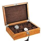 Inicio Accesorios Caja de reloj Madera 10 ranuras Reloj Exhibición de joyería Estuche de almacenamiento Cerradura de metal con cerradura Organizador de vitrina Tapa de vidrio para hombres Mujeres