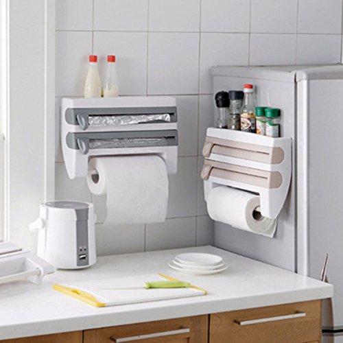 Gogil Convenient Kitchen Foil Film Wrap Tissue Paper Kitchen Roll Holder Dispenser Rack Storage Shelf for Kitchen Bedroom Organization Tool