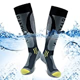 BROTOU 100% Waterproof Socks Mid Knee Length Socks Breathable and Windproof for Running Climbing Cycling Trekking Outdoor Excuirsion [SGS Certified] - M