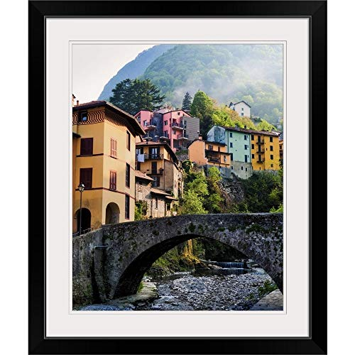 GREATBIGCANVAS Fog Drifts Down Mountain and Through Idealistic Village Along Lake Como. Black Framed Wall Art