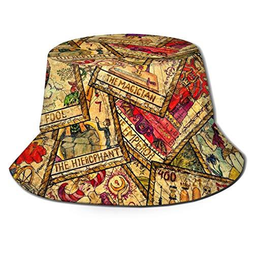 Sombrero de pescador colorido Tarot Tarjetas Vintage Sun Bucket Sombreros al aire libre Pesca Camping Negro