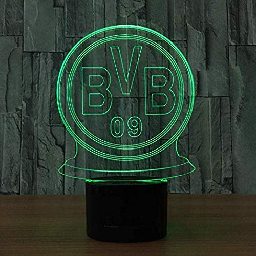 LED Nachtlicht BVB-Abzeichen Geschenke spielzeug dekor 3d illusion lampe 7 farben touch control usb powered party dekoration lampe,3D visuelle Lampe für Home Décor Xmas Geburtstagsgeschenke