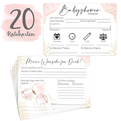 20 Hochwertige Babyshower Karten zum Ausfüllen - für Jungen und Mädchen I Perfektes Spiel für die Babyparty I Beidseitig bedruckt I Persönliches Geschenk für Schwangere - Design Glamour