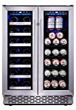 Phiestina 24 Inch Built In Dual Zone Wine and Beverage Cooler with...