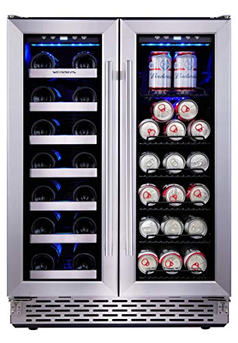 Phiestina 24 Inch Built In Dual Zone Wine and Beverage Cooler with French Door