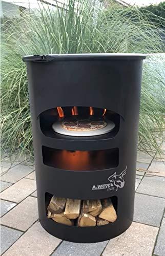 A. Weyck Tools Universal Feuertonne Dutch Oven Grill Feuerplatte Pizza Feuerkorb Stahlfass Multifunktionstonne BBQ (Feuertonne)