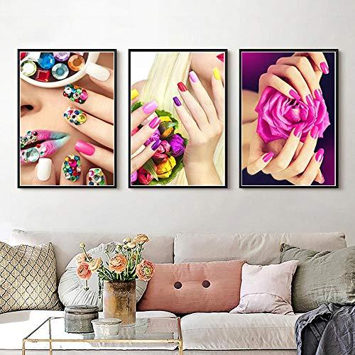 XIANGPEIFBH Bunt Nagel Bilder Malen Aquarell Zeichnung Kern Poster Wohnzimmer Nailshop Wanddekor Kreatives Geschenk 20x30cmx3pcs Ungerahmt