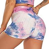 STARBILD Shorts de Fitness Moda Mallas Pántalones Cortos Deportivos de Skinny Elástico Alta Cintura para Mujer Yoga Gimnasio Azul+Rosa Medium