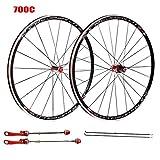 ZHTY Set di Ruote per Bici da Corsa in Fibra di Carbonio Cerchi in Lega a Doppia Parete 700C V-Brake 7 8 9 10 Ruota Bici a sgancio rapido a Cassetta a 11 velocità