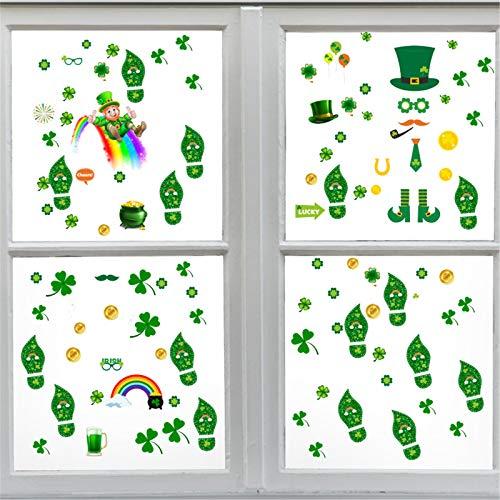 Moent Pegatinas para ventana del día de San Patricio, trébol de la suerte para celebraciones irlandesas, festivales, fiestas, decoraciones (8 hojas de 104 piezas)