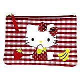 Hello kitty by camomilla-Estuche plano, diseño a cuadros, color rojo y blanco