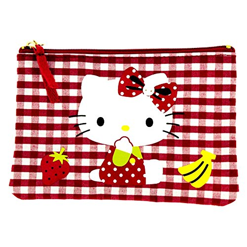 Hello kitty by camomilla - trousse plate vichy rouge blanc