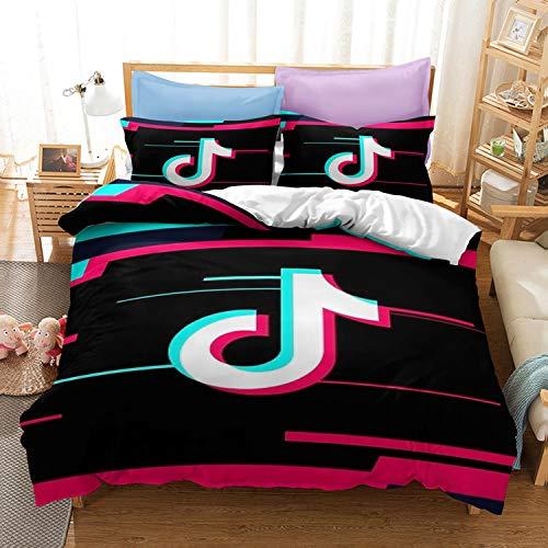 kxry TIK Tok Symbol Full Size Bedding Set Social Media Logo Duvet Cover Sets for Boys Girls Kids Teens 1 Duvet Cover + 2 Pillow Shams