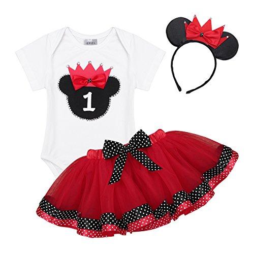 YiZYiF Bébé Fille Costume Baptême 1er Anniversaire Tenue Cartoon Body Combinaison Barboteuse & Tulle Tutu Jupe à Pois & Serre-tête Vêtement Cérémonie Photographie 9-18 Mois Rouge 12-18 Mois