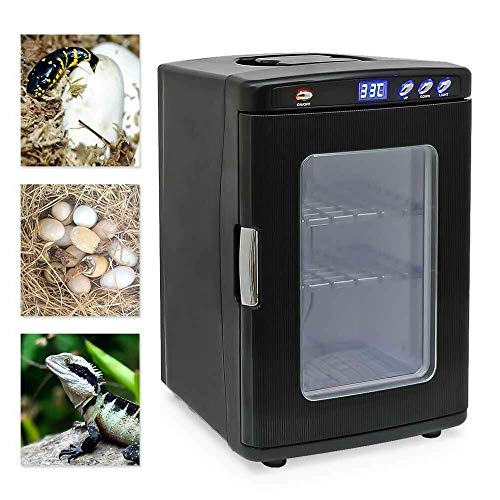 Reptile Incubator 25L Automatic Temperature Control Cooling and Heating for Small Reptiles 5-60 °C 12V/110V (Black)