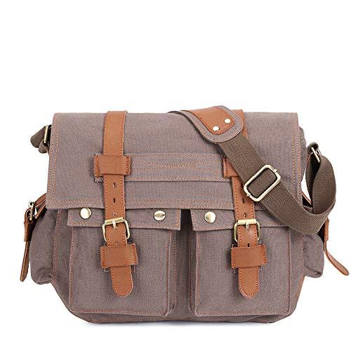 Bolso de lona para hombre con cuero de un hombro bolsa de mensajero de ocio maletín de múltiples bolsillos