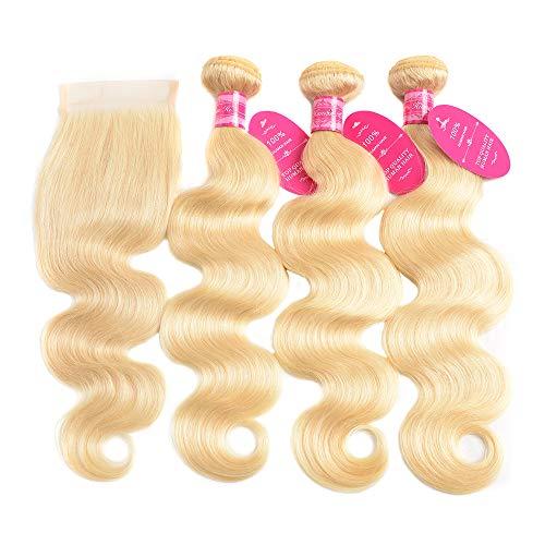 613 Blonde Bundles with Closure Brazilian Body Wave 3 Bundles with Closure Blonde Human Hair Bundles with Closure Remy Hair (12 14 16 + 10, 613#)