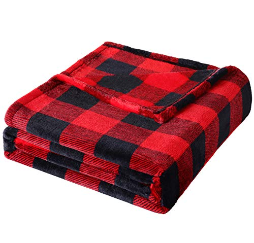 Fomoom Buffalo Plaid Throw Blanket for Couch, Bed and Sofa, Soft and Cozy Fleece Red Black Check Pattern Decorative Throw, Fuzzy, Fluffy, Lightweight Microfiber, 51x63 inches