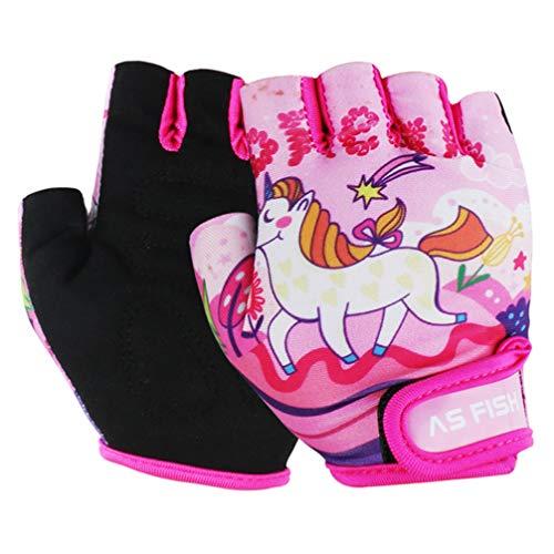 Garneck 1 Paar Kinder Fahrradhandschuhe Halber Finger Fingerlose Kurze Handschuhe Fausthandschuh Stoßfest für Radsport Skate Skateboard Rollschuh Pink Xs