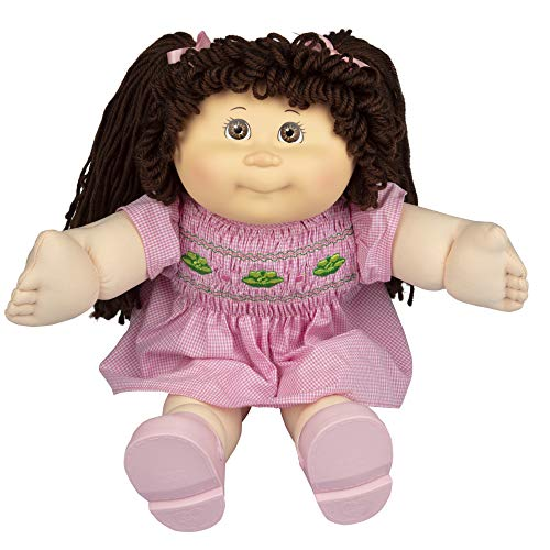 """Cabbage Patch Kids Vintage Retro Style Yarn Hair Doll - Original Brunette Hair/Brown Eyes, 16"""" - Amazon Exclusive - Easy to Open Packaging"""