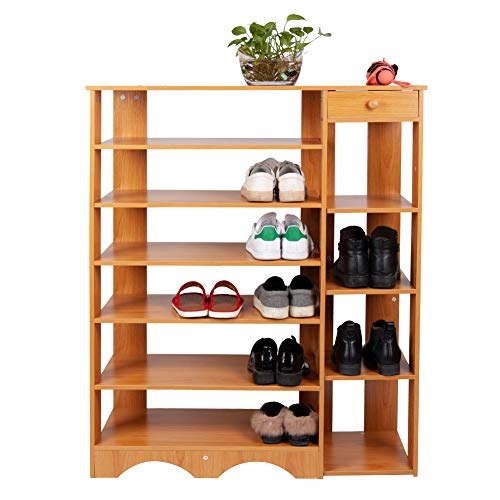 Polar Aurora 7 Tier Multi Function MDF Shoe Rack Shelf w/4 Layer Boots Store & 1 Drawer Shoe Storage Shelves Free Standing Shelf Organizer