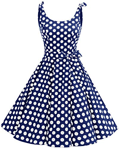 Bbonlinedress 1950er Vintage Polka Dots Pinup Retro Rockabilly Kleid Cocktailkleider Blue White Big DotL