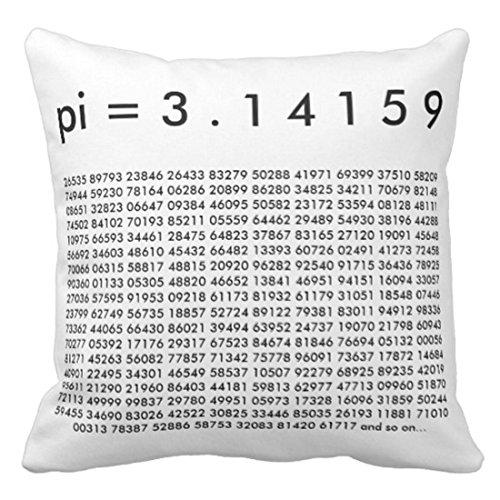 N/Q Throw Pillow Cover Funny Happy Pi 3 14159 Black White Math Science Day Piday Funda de Almohada Decorativa Decoración para el hogar Funda de Almohada Cuadrada de 45 x 45 CM