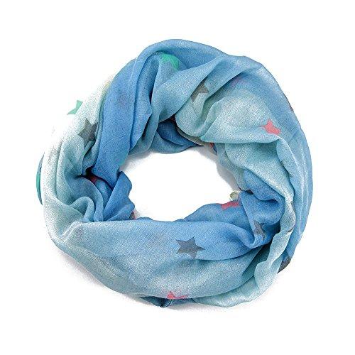 MANUMAR Loop-Schal für Damen | Hals-Tuch in Blau mit Stern Motiv als perfektes Herbst Winter Accessoire | Schlauchschal | Damen-Schal | Rundschal | Geschenkidee für Frauen und Mädchen