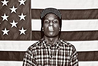 Buyartforless ASAP Mob Rocky with Flag 36x24 Music Art Print Poster Rakim Mayers Smoking Plaid Shirt Rap Hip Hop