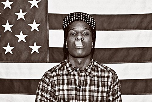 ASAP Mob Rocky with Flag 36x24 Music Art Print Poster Rakim Mayers Smoking Plaid Shirt Rap Hip Hop