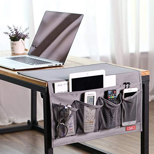 STARS100 Bedside Storage Organizer 6 Pockets, Table Cabinet Magazine Bedside Holder Caddy for Remotes Phone Book Glasses (gray)