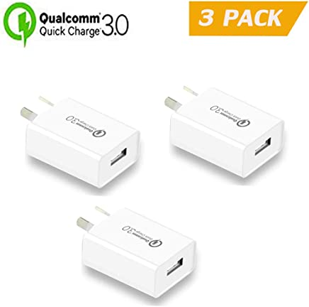 Quick Charge 3.0 with AUS Plug, IGUGIG 18W Qualcomm USB Wall Charger Adapter with Smart IC, FCC RoHS CE Listed for iPhoneXs/Xs Max/X /8 Plus/8/7Plus/7/6Plus/6/5S,iPad,iPod,Samsung ,HTC,Xiaomi,Huawei,LG and More (3-PACK)