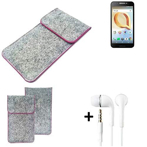 K-S-Trade Filz Schutz Hülle Für Alcatel A30 Plus Schutzhülle Filztasche Pouch Tasche Hülle Sleeve Handyhülle Filzhülle Hellgrau Pinker Rand + Kopfhörer